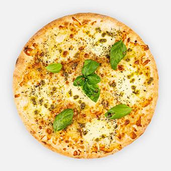 FORZA-NAPOLI! - fokhagymás olíva alap, oregano, mozzarella, tépett mozzarella, pesto, friss bazsalikom - www.pizzarello.hu