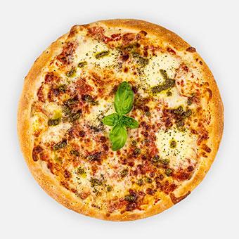 "FORZA-NAPOLI ""TOMATO"" - pizzaparadicsom, oregano, mozzarella, tépett mozzarella, pesto - friss bazsalikom- www.pizzarello.hu"