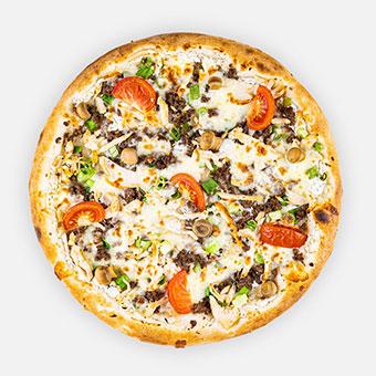 Muszka - Tejföl, kapor, fokhagyma, oregánó, csibemell, pirított marha, paradicsom, zöldhagyma, mozzarella, bébi csiperke