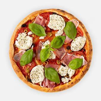 Buffalo Caprese pizza (32 cm) - paradicsom alap, olivabogyó, paradicsomkarika, bivalymozzarella, serrano, pesto, bazsalikom - www.pizzarello.hu