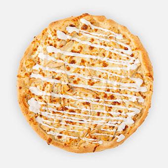 Fok-tej-csi pizza (32 cm) - fokhagymás-tejfölös alap, csirkemell, sajt, tejföl - www.pizzarello.hu