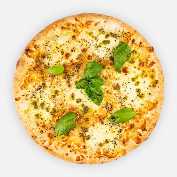 FORZA-NAPOLI! pizza - fokhagymás olíva alap, oregano, mozzarella, tépett mozzarella, pesto, friss bazsalikom - www.pizzarello.hu