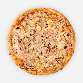 Georgina pizza (32 cm - paradicsom alap, sonka, gomba, sajt - www.pizzarello.hu