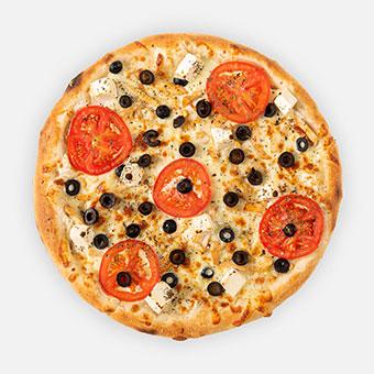 Görög pizza (32 cm) - fokhagymás-tejfölös alap, csirkemell, olivabogyó, feta, paradicsomkarika, sajt, bazsalikom - www.pizzarello.hu