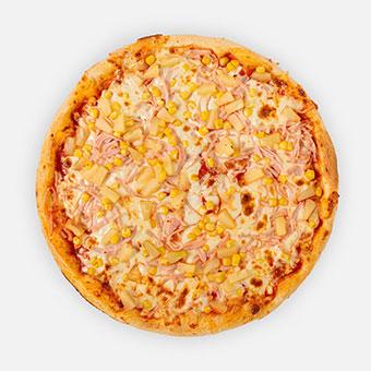 Hawaii pizza (32 cm) - paradicsom alap, sonka, ananász, kukorica, sajt - www.pizzarello.hu