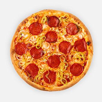 Magyaros pizza (32 cm) - paradicsom alap, paprikás vastagkolbász, hagyma, hegyes erős paprika, sajt - www.pizzarello.hu