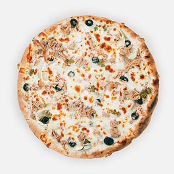 Pizza a la Marseille pizza (32 cm) - Fokhagymás besamel, hagyma, olivabogyó, capribogyó, tonhal, sajt - www.pizzarello.hu