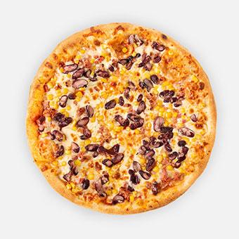 Mexikói pizza (32 cm) - paradicsom alap, császárszalonna, kukorica, bab, chili, sajt - www.pizzarello.hu