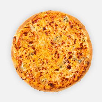 Sajt quartett pizza (32 cm) - paradicsom alap, négysajt keverék - www.pizzarello.hu