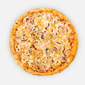 Son-Go-Ku pizza (32 cm) - paradicsom alap, sonka, gomba,kukorica, sajt - www.pizzarello.hu