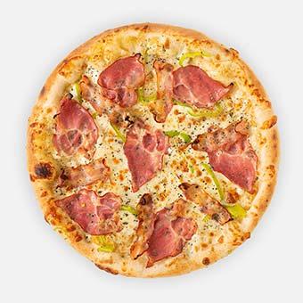 Hulk pizza (32 cm) - fokhagyma-mustár-tejföl alap, tarja, zöldpaprika, füstölt mozzarella, bacon - www.pizzarello.hu
