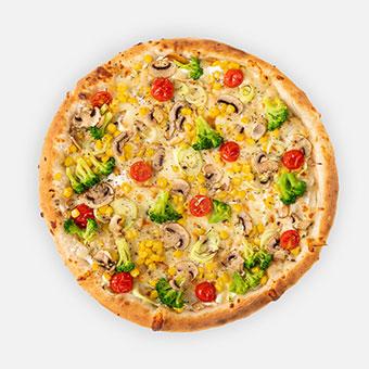 4 évszak pizza ( 32 cm) - fokhagymás-tejfölös alap, póréhagyma, kukorica, brokkoli, koktélparadicsom, füstölt mozzarella, gomba - www.pizzarello.hu