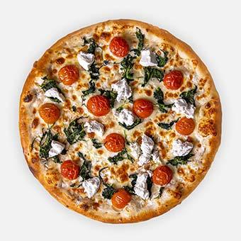 Popeye pizza ( 32 cm) - fokhagymás-tejfölös alap, paraj, kokélparadicsom, sajt, kecskesajt - www.pizzarello.hu