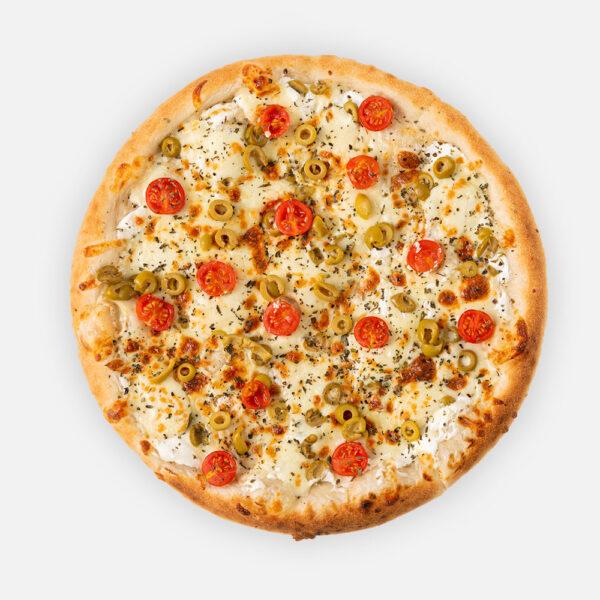 Vega pizza (32cm) - tejföl, juhtúró, zöld olívabogyó, koktélparadicsom, sajt, szárított paradicsom - www.pizzarello.hu