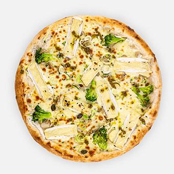 VEGARELLO - tejföl, fokhagyma, póréhagyma, cukkini, brokkoli, mozzarella, camembert, magmix, pesto - www.pizzarello.hu