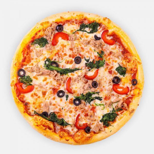 Vasmacska: Pizzaparadicsom, fokhagyma, tonhal, olíva, marinált paprika, paraj, mozzarella, pesto