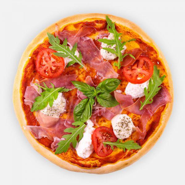 Pizzaparadicsom, serrano sonka, bivaly mozzarella, bazsalikom, friss paradicsom, ricotta, rukkola