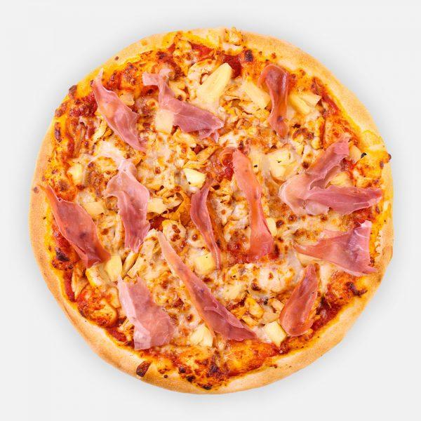 Malibu pizza : pizzaparadicsom - csirkemell -ananász- füstölt mozzarella - érlelt sonka
